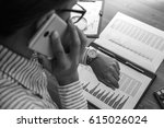 business woman at workplace at... | Shutterstock . vector #615026024