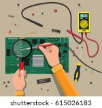 hands of engineer with digital... | Shutterstock .eps vector #615026183