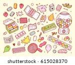bubble gum set. hand drawn...   Shutterstock .eps vector #615028370