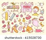 sweets. bubble gum set. hand...   Shutterstock .eps vector #615028730