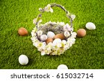 a wicker basket filled with...   Shutterstock . vector #615032714