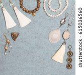 handmade set of white golden... | Shutterstock . vector #615036560