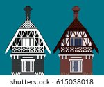 two storey cottages medieval... | Shutterstock .eps vector #615038018