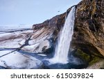 seljalandsfoss waterfall in... | Shutterstock . vector #615039824