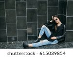 fashionable model in sunglasses ... | Shutterstock . vector #615039854