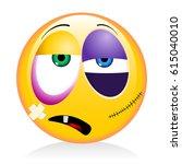 emoji  emoticon   beaten up | Shutterstock . vector #615040010