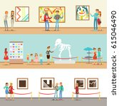 museum visitors taking a museum ... | Shutterstock .eps vector #615046490