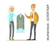 woman employee giving a clean... | Shutterstock .eps vector #615047669