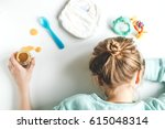 lifestyle tired mother top view ... | Shutterstock . vector #615048314