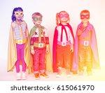 superheroes kids standing on... | Shutterstock . vector #615061970