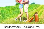beautiful young couple kissing... | Shutterstock . vector #615064196