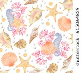 watercolor sea pattern with... | Shutterstock . vector #615064829