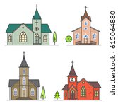 vector thin line icon church.... | Shutterstock .eps vector #615064880