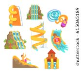 colorful water slides and tubes ... | Shutterstock .eps vector #615065189