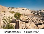 view of the mount of olives ... | Shutterstock . vector #615067964