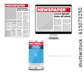 media evolution   newspaper ... | Shutterstock .eps vector #615073250
