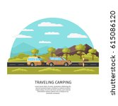 light traveling camping... | Shutterstock .eps vector #615086120