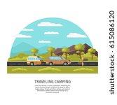 light traveling camping... | Shutterstock .eps vector #615086120