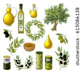 cartoon olive oil elements set... | Shutterstock .eps vector #615086138