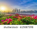morning panorama of dubai... | Shutterstock . vector #615087398