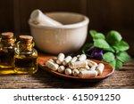 natural medicine capsule pill... | Shutterstock . vector #615091250