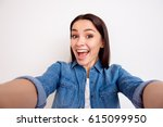 portrait of excited cheerful... | Shutterstock . vector #615099950
