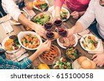 nice family having tasty dinner | Shutterstock . vector #615100058