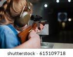 nice pleasant girl developing...   Shutterstock . vector #615109718