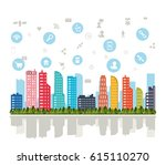 smart city and icon set.... | Shutterstock .eps vector #615110270