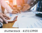 business man is pointing to... | Shutterstock . vector #615113900