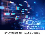 block chain network and... | Shutterstock . vector #615124088