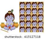 hindu god krishna cartoon... | Shutterstock .eps vector #615127118
