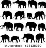 asian elephant silhouette...   Shutterstock .eps vector #615128390
