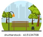 bench in park in circle | Shutterstock .eps vector #615134708