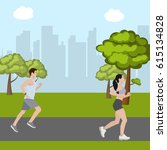 man and woman running in park | Shutterstock .eps vector #615134828