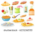various meat canape snacks... | Shutterstock .eps vector #615136553