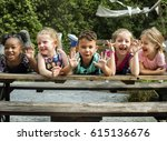 cute little kids having fun... | Shutterstock . vector #615136676