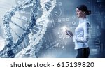 her biochemistry research and... | Shutterstock . vector #615139820