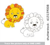 toy cute lion. dot to dot... | Shutterstock .eps vector #615159008