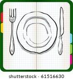 dinner plate  knife and fork