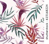 tropical flowers  jungle leaves ... | Shutterstock .eps vector #615168224