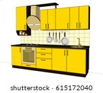 yellow and brown small kitchen. ... | Shutterstock . vector #615172040