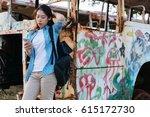 young asian woman using... | Shutterstock . vector #615172730