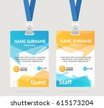 id card template plastic badge... | Shutterstock .eps vector #615173204