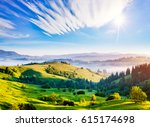 bright rolling countryside... | Shutterstock . vector #615174698