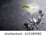 margarita cocktail on dark... | Shutterstock . vector #615180980