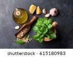 pesto sauce cooking. basil ... | Shutterstock . vector #615180983