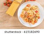 delicious spaghetti with... | Shutterstock . vector #615182690