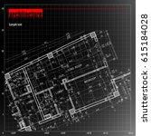 architecture grid blueprint... | Shutterstock .eps vector #615184028
