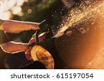 close up professional chainsaw... | Shutterstock . vector #615197054